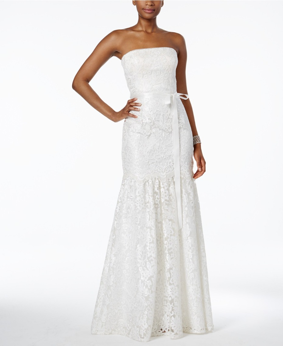strapless lace wedding gown under $400