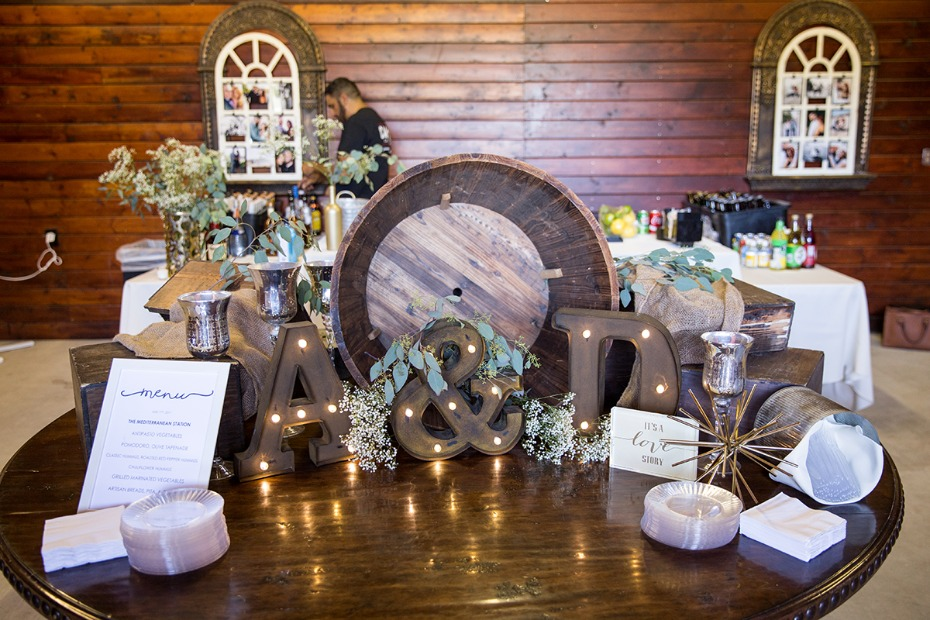wedding entrance and welcome table