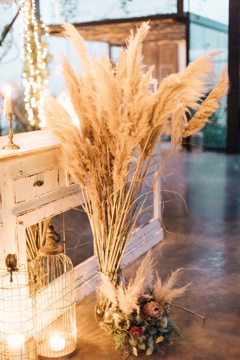 White pampas grass wedding decor