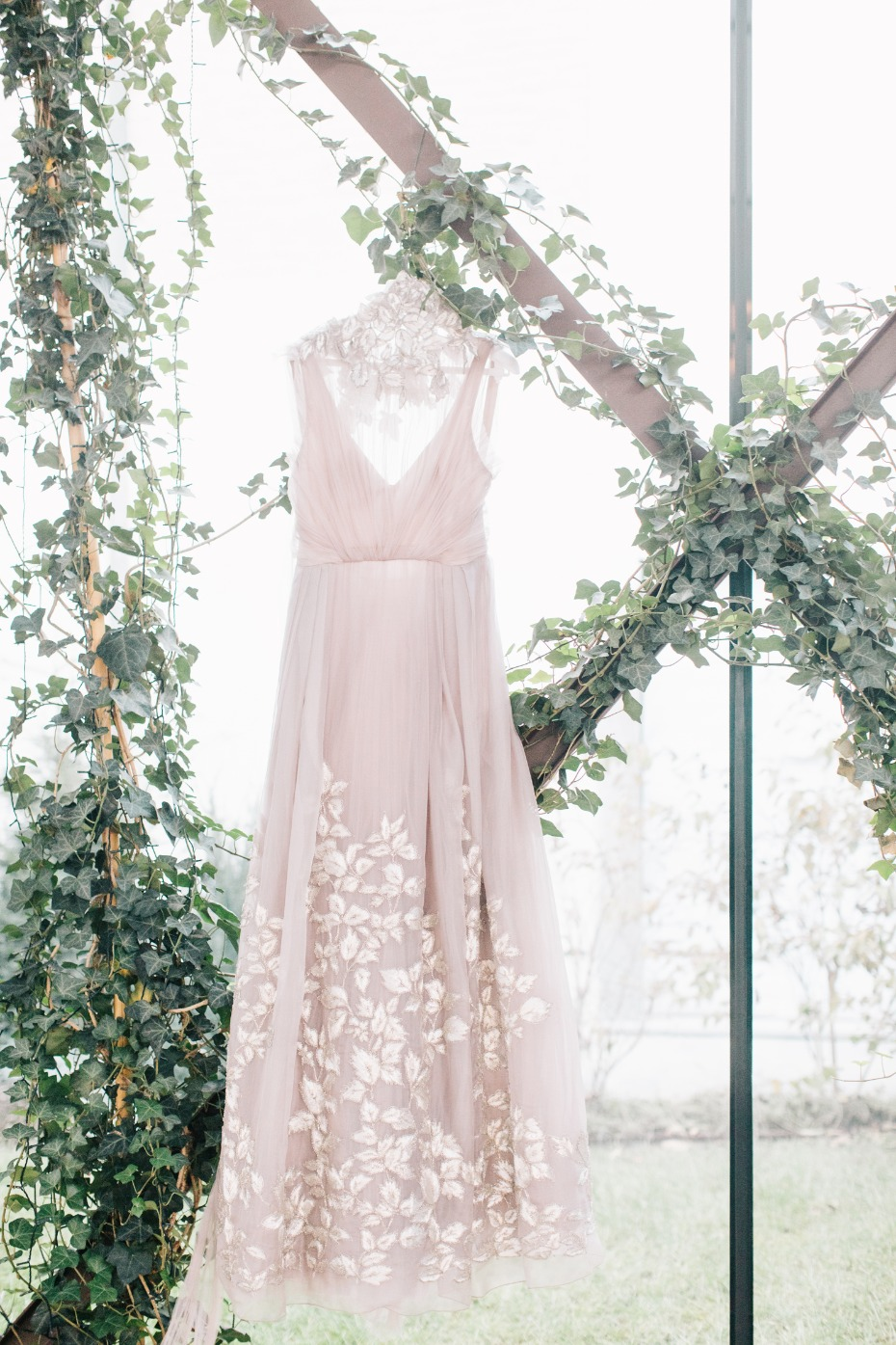 Blush floral appliqué wedding dress