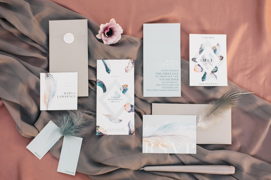Modern boho invitation suite