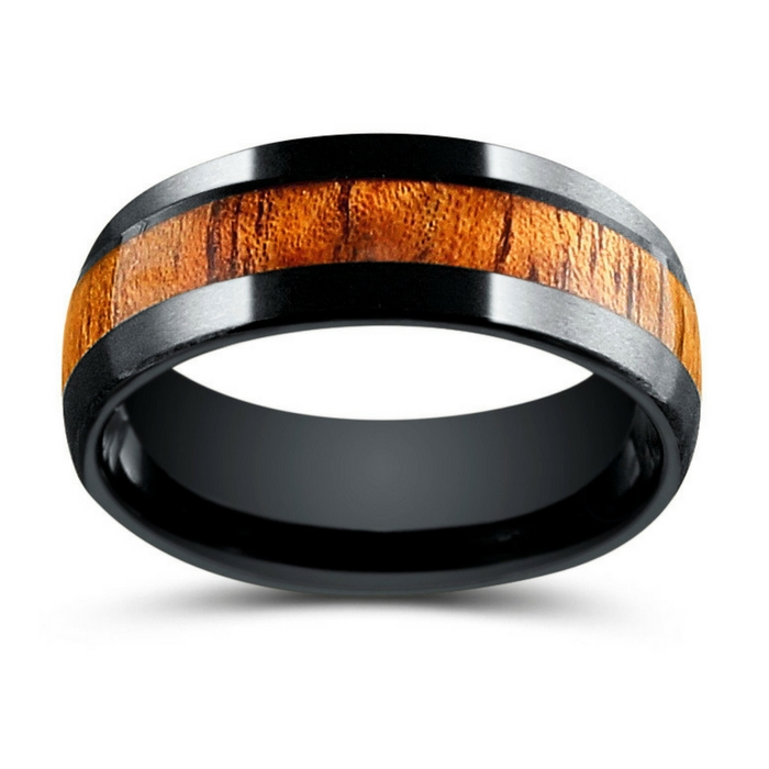 Mens black woodland wedding ring. Crafted out of black tungsten carbide and koa wood. This wood ring is both durable and comfortable