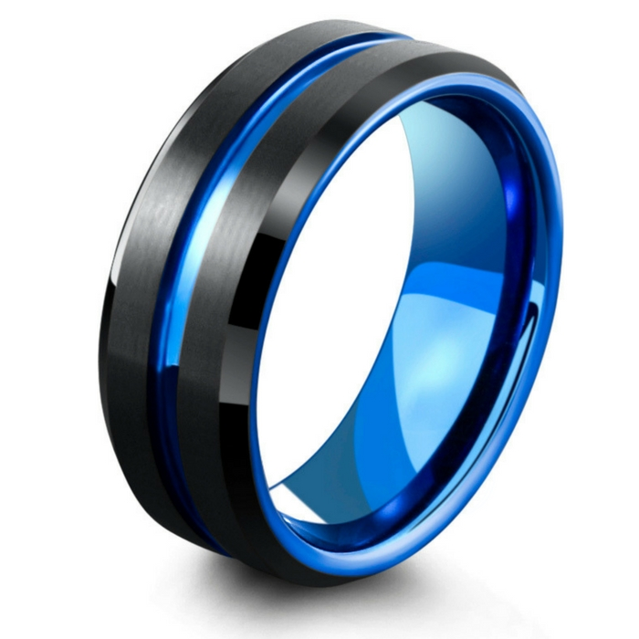 Mens blue and black tungsten wedding ring. Blue carved center channel and a high polish blue interior.