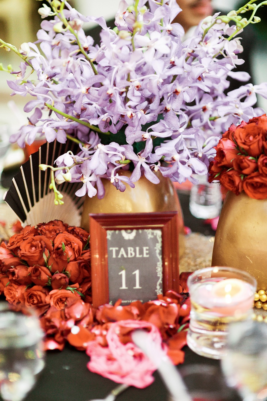 Bold reception table colors