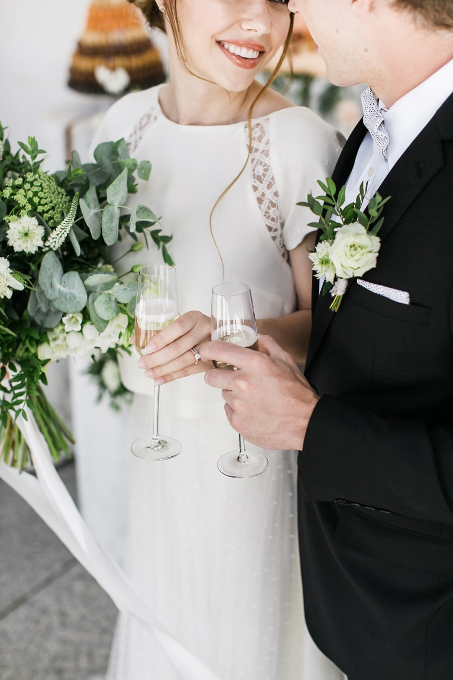 modern wedding style for the bride and groom
