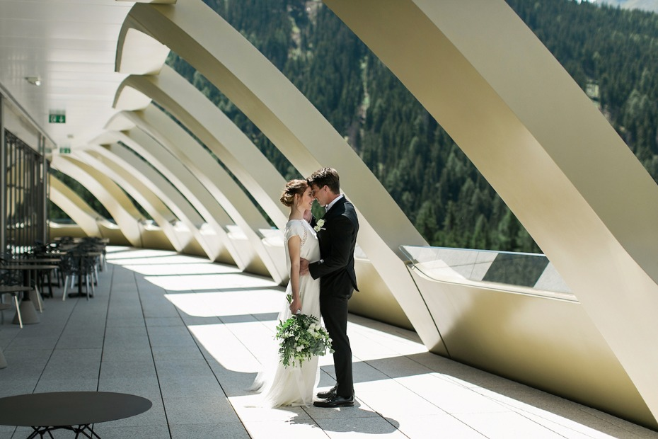 bride and groom at InterContinental Davos