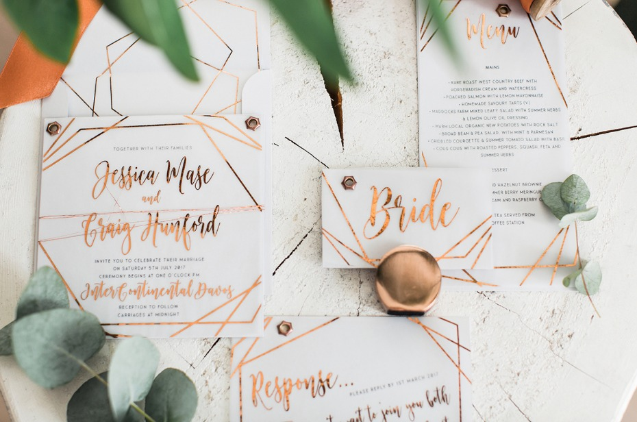 modern style copper and acrylic wedding stationery