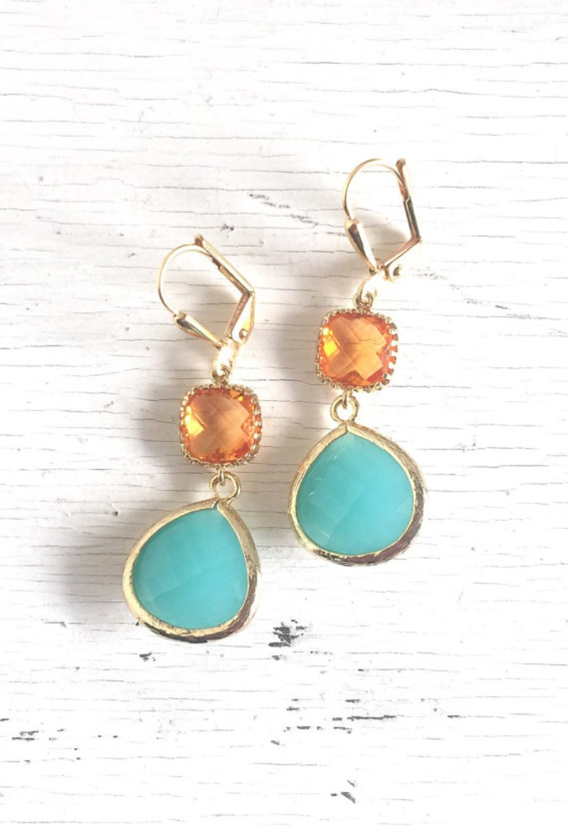 Loving the amber orange and the turquoise together!