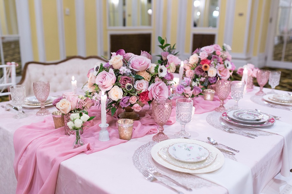 french style pink wedding table