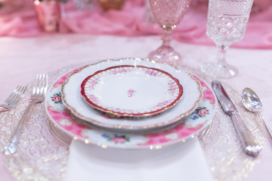 mismatched pink china