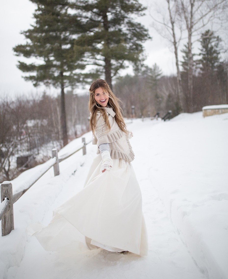 winter bride looking cozy