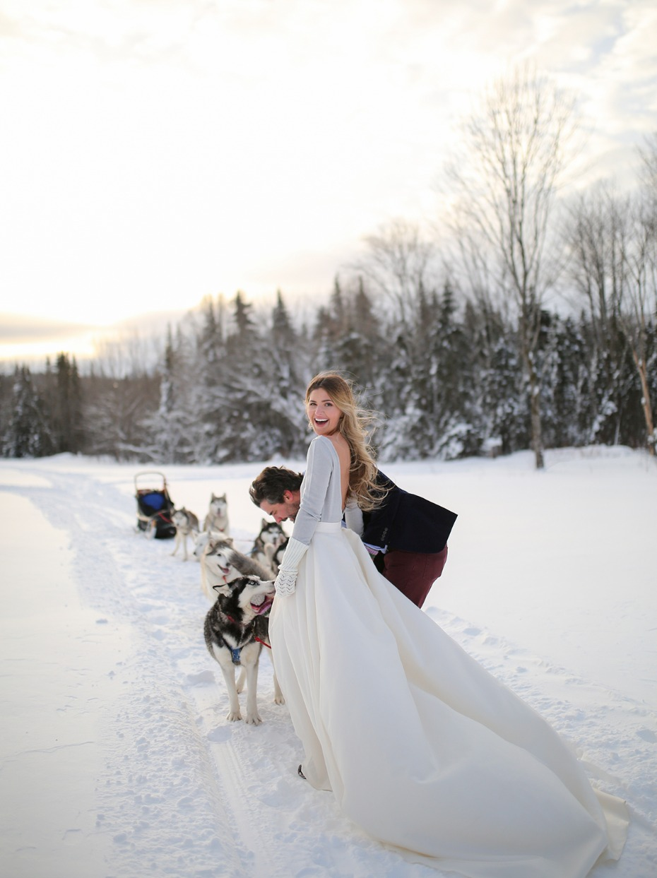 a bride a groom and a team of huskies