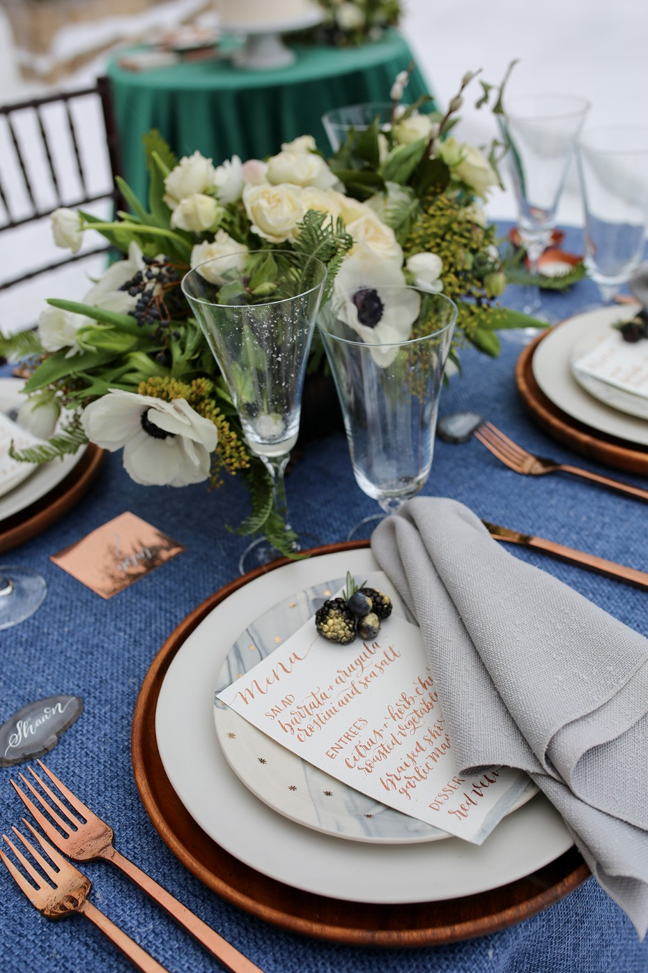 marble and copper wedding place setting