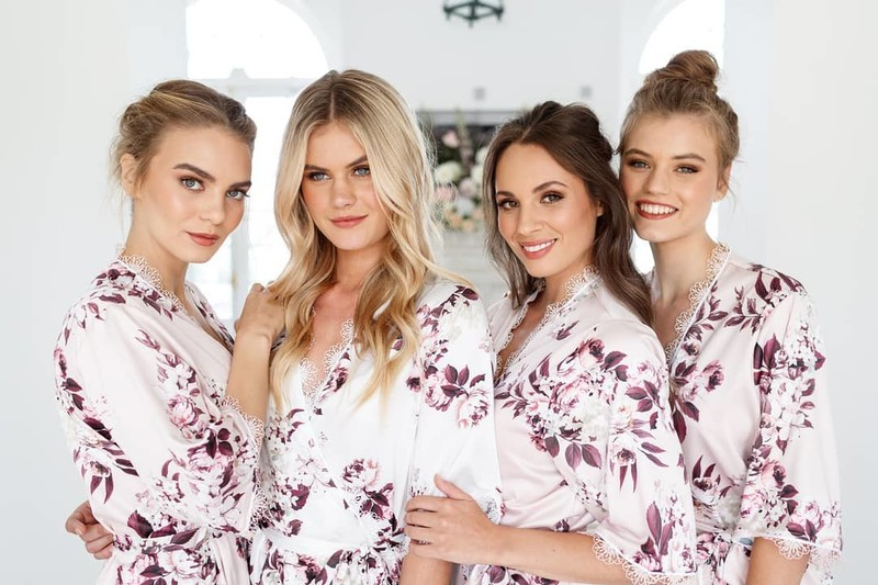 Make those bridal party portraits pop with a beautiful keepsake for you and your girls. The Emma Dusty Rose robe is the perfect choice
