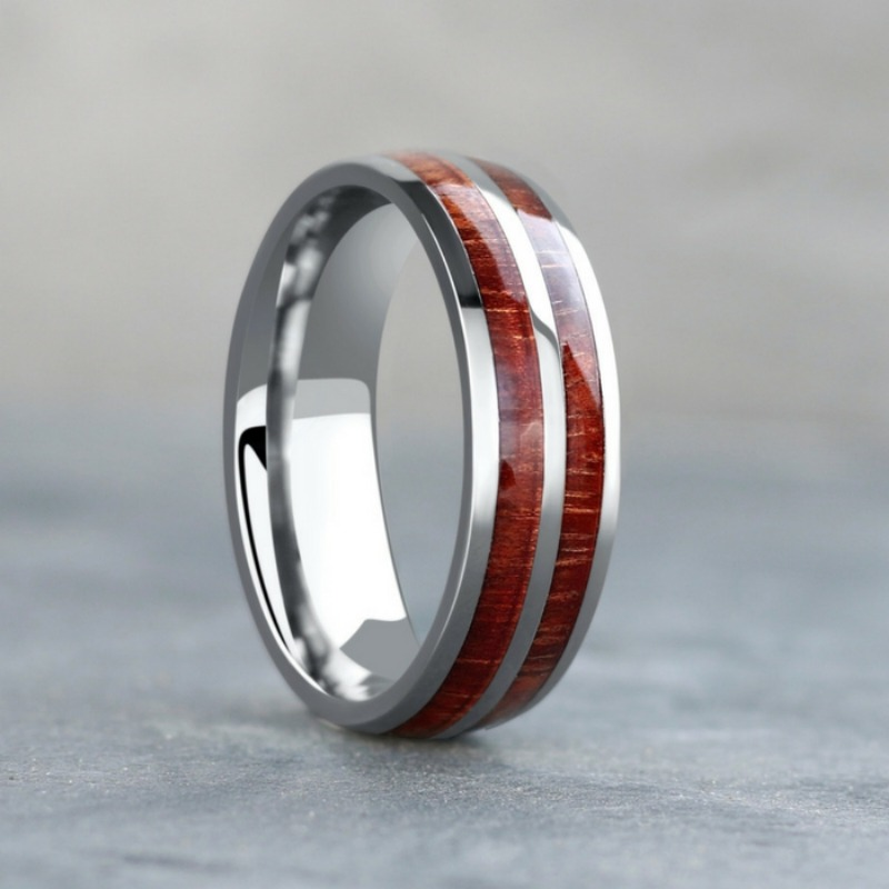 7mm Titanium Wood Wedding Ring. The perfect outdoorsman wedding ring. Durable. waterproof. comfort fit.