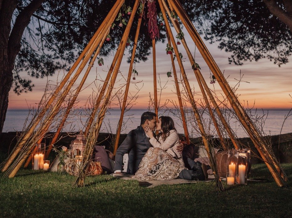 Romantic bohemian wedding decor ideas in Big Sur