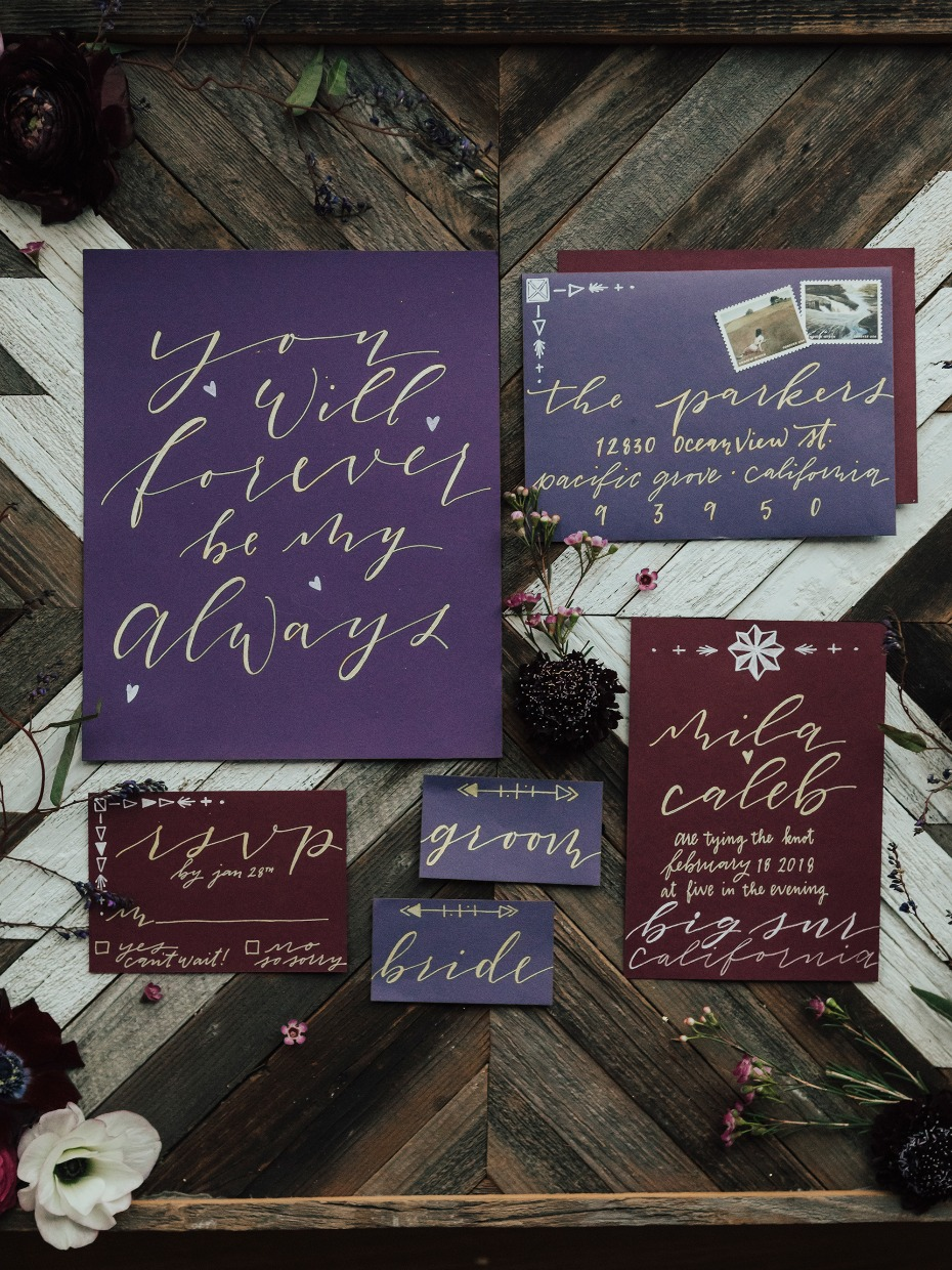 Purple and burgundy invitation suite