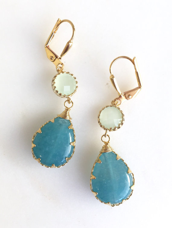 The mint stones are glass and the blue stones are jade. The earrings are on gold plated lever back earwires and are about 1.5 long
