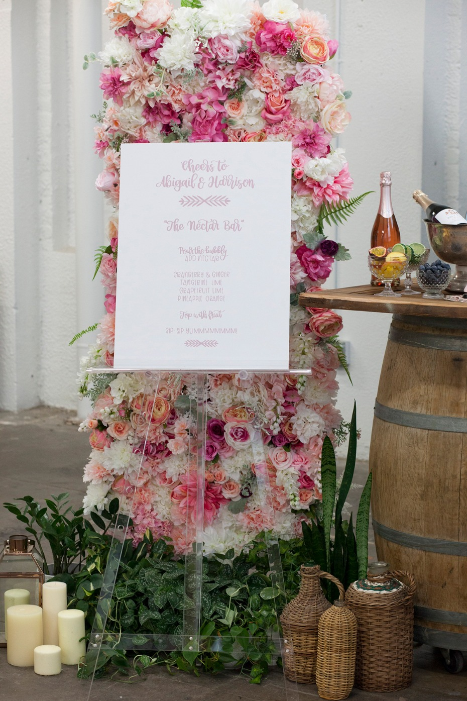 floral backdrop and menu