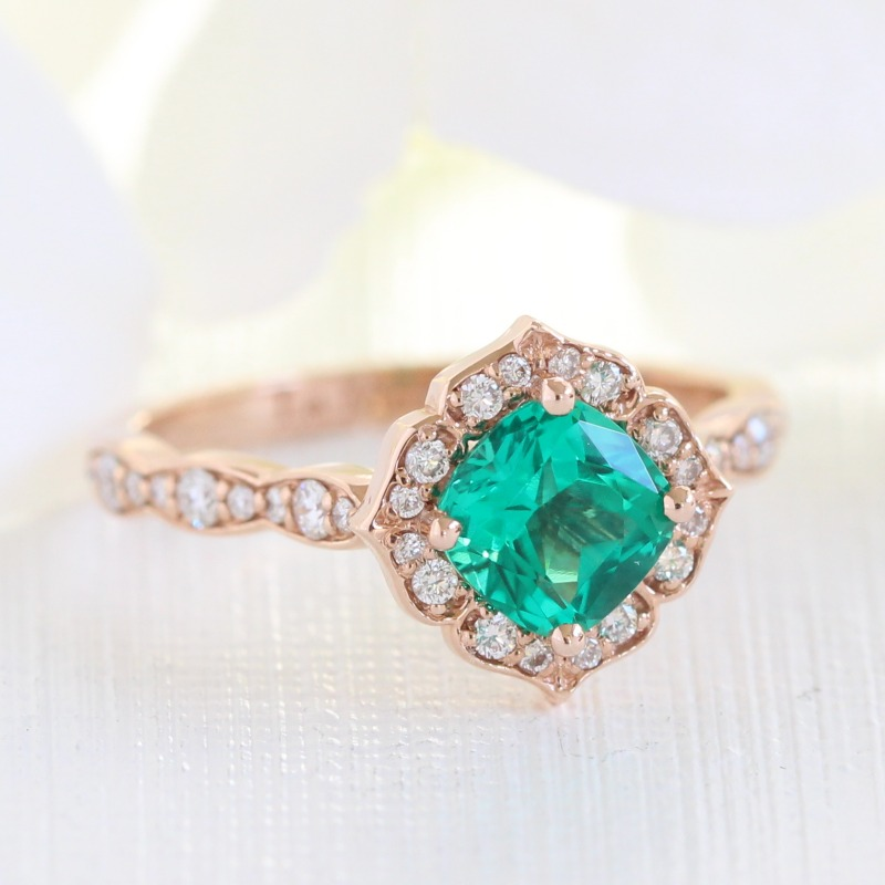 Shop this mini vintage floral cushion engagement ring in scalloped diamond band by La More Design ~
