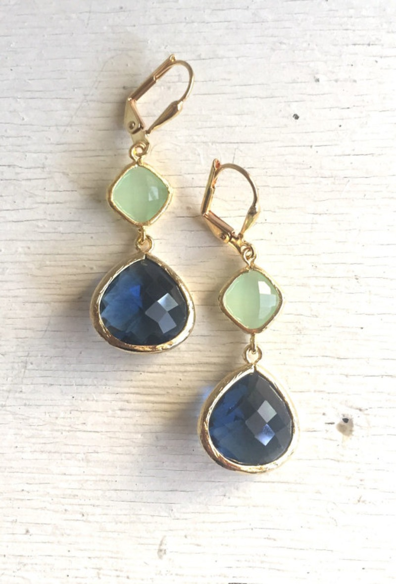 Blue and Mint Drop Earrings in Gold. Sapphire Bridesmaid Dangle Earrings. Drop. Bridesmaids. Wedding Jewelry. Bridal Jewelry. Gift