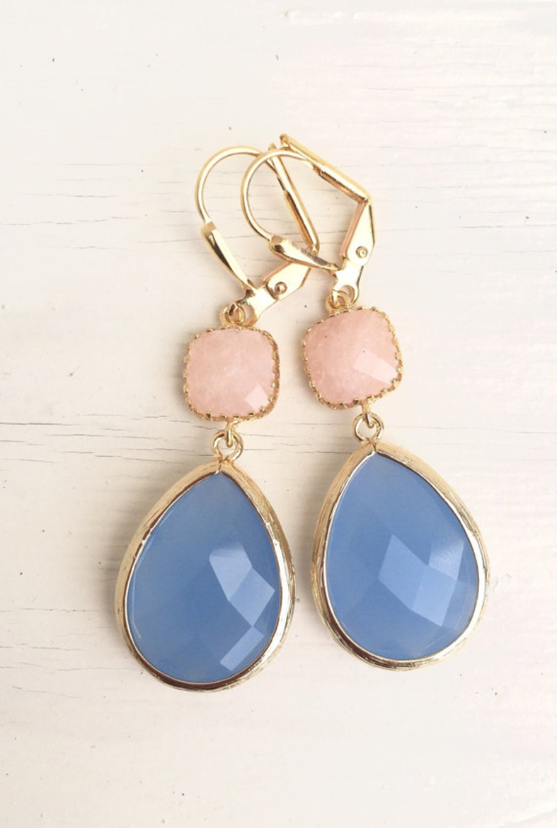 Periwinkle, peach/pink jade, and gold come together beautifully in these elegant and stunning earrings. Alive and gorgeous, these earrings