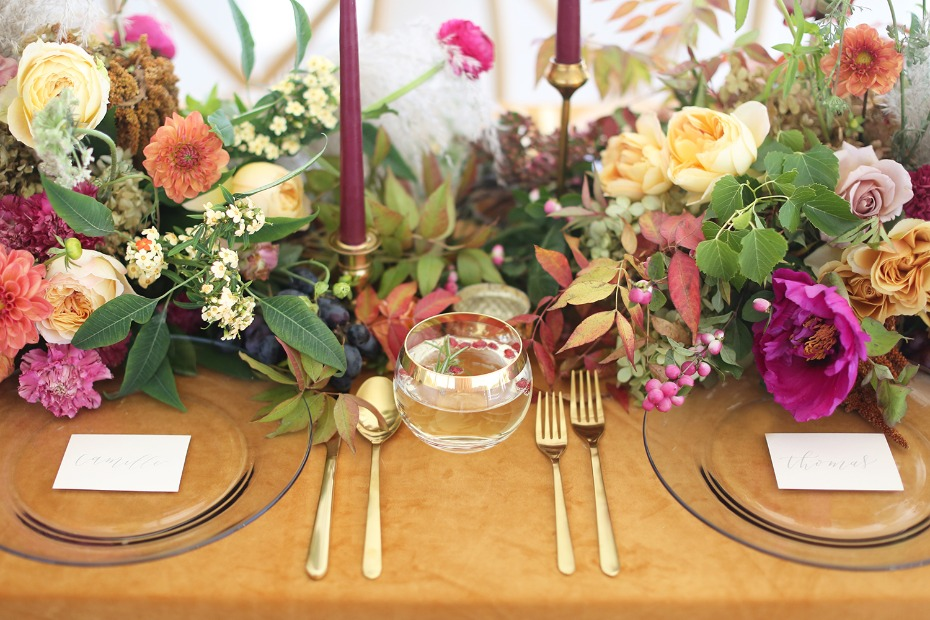jewel-tone tablescape with a velvet table cloth