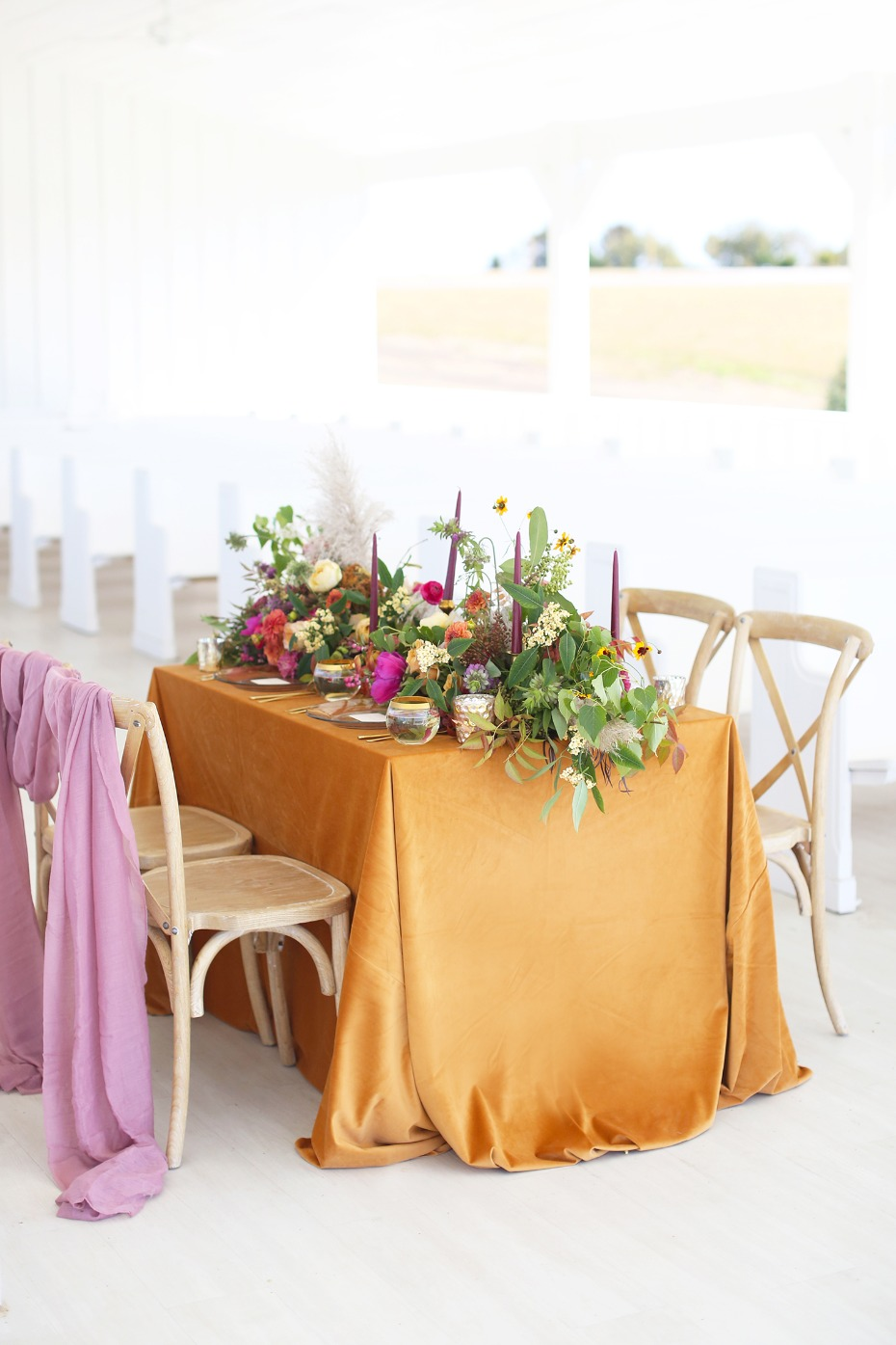 Jewel-tone table decor