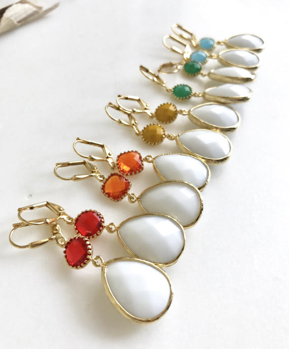 Colorful Dangle Earrings in Gold. Drop Earrings. Red Orange Yellow Green and Blue Dangle Earrings. Summer Jewelry. Gift Ideas for Her