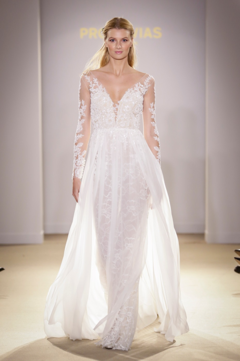 Pronovias wedding gown with overlay