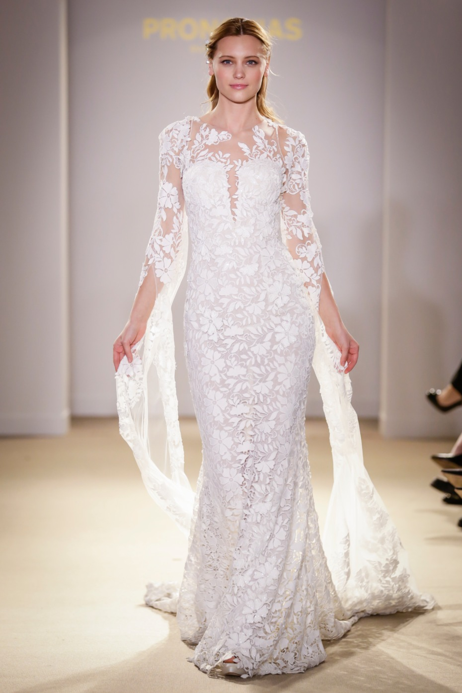 long sleeve lace wedding gown with lace train