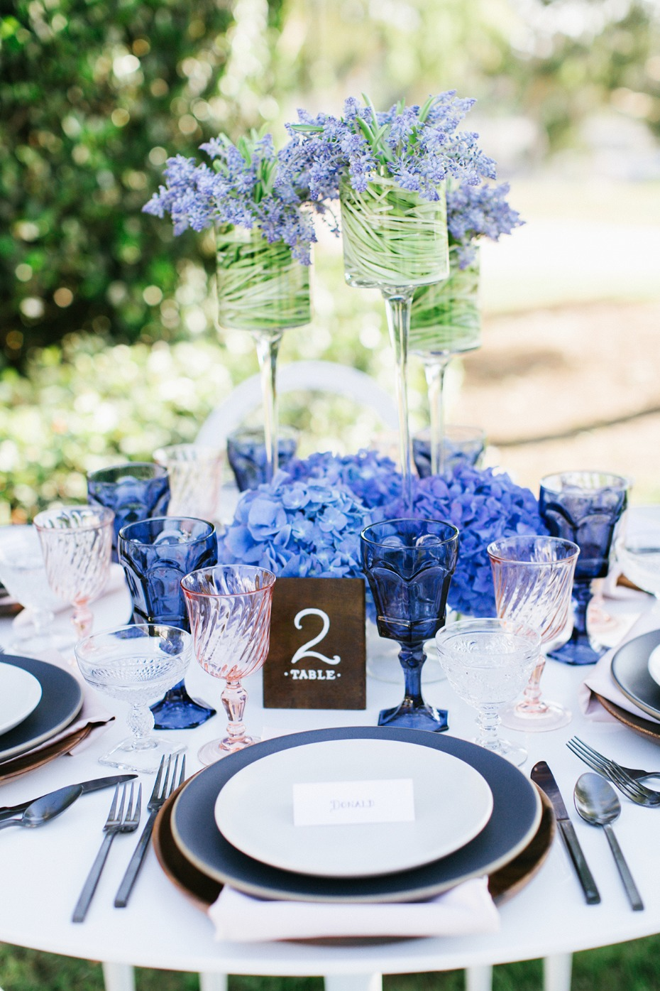 Blue and blush modern tablescape
