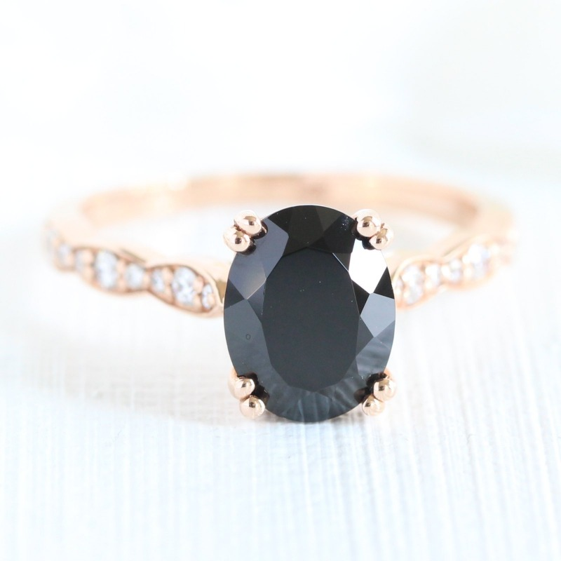 Black Spinel Engagement Rings by La More Design, handmade in NYC
