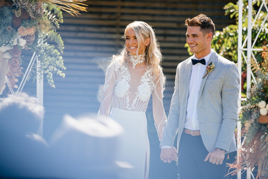 wedding couple with fun festival style