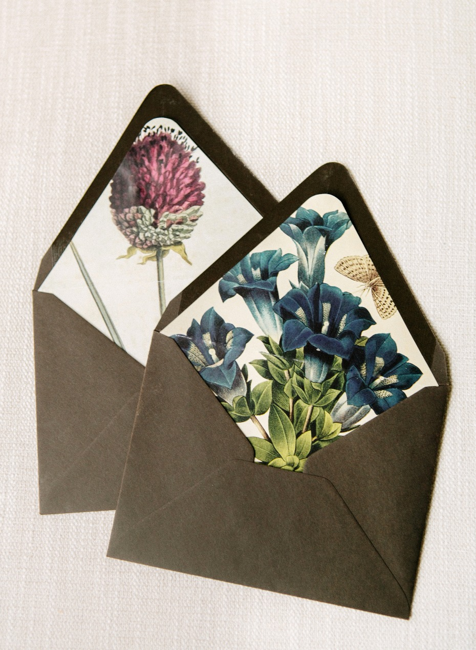 DIY Floral Envelope Liners by Christina McNeill and Adelphi Events