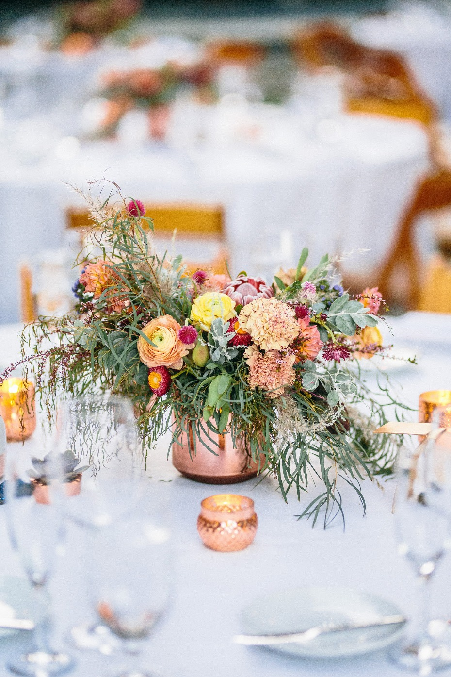 Colorful centerpiece with candles