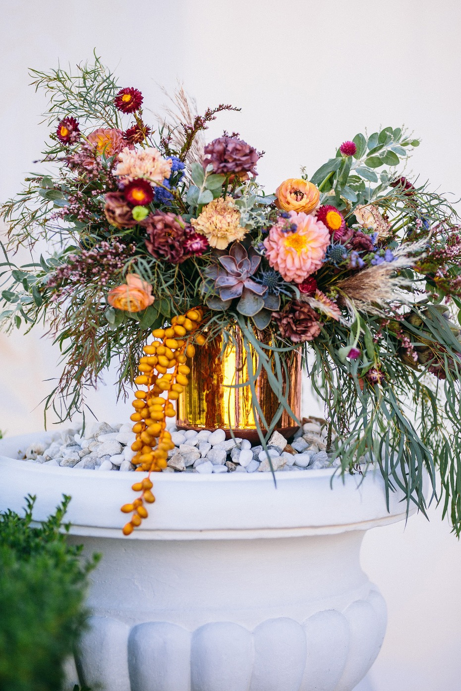 Colorful ceremony florals