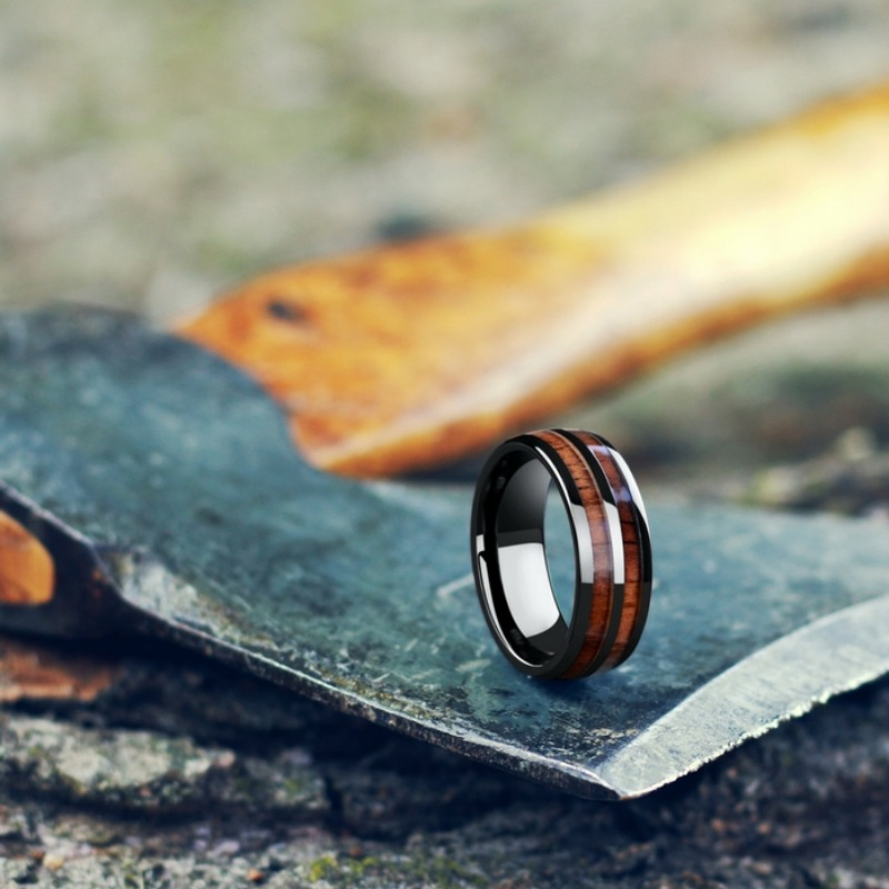 The Outdoorsman Wedding Ring. Mens wood wedding rings. These wood rings are extremely durable and waterproof.