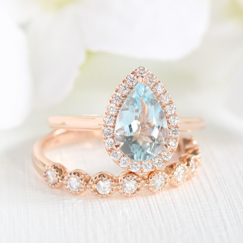 Shop Aquamarine Bridal Sets from La More Design, a beautiful something blue she'll cherish forever ~