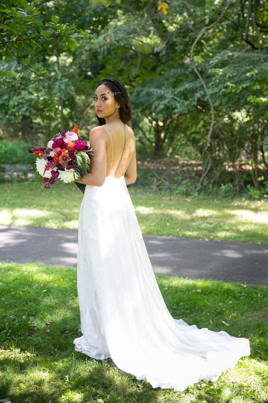 back showcasing wedding gown