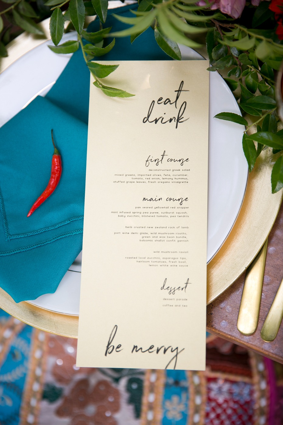 fun and whimsical wedding menu