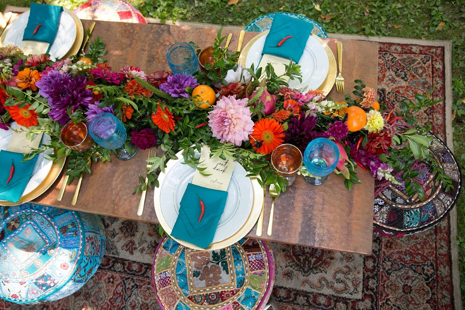 low table and pouf seating for your moroccan style table