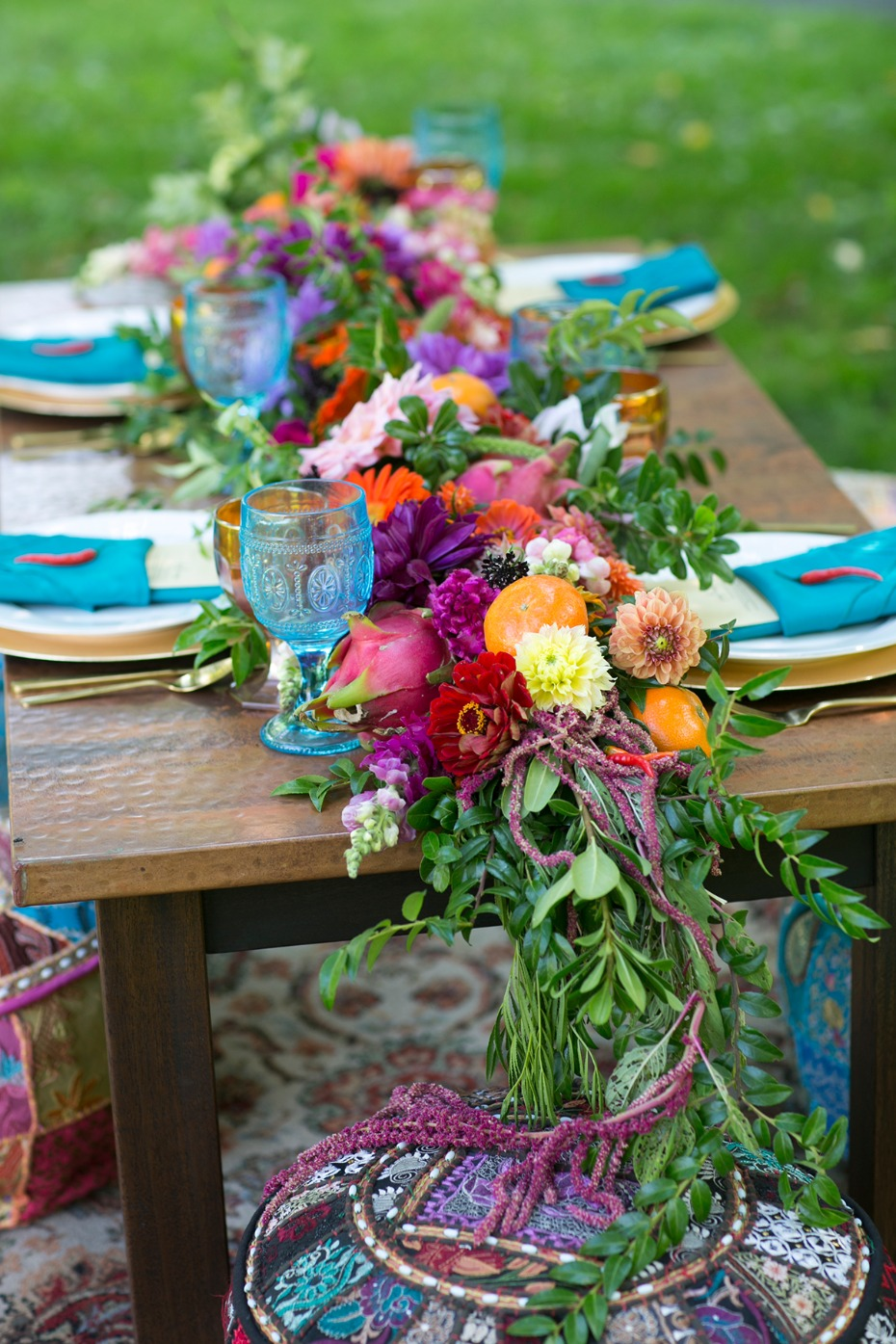 bright and colorful wedding table garland