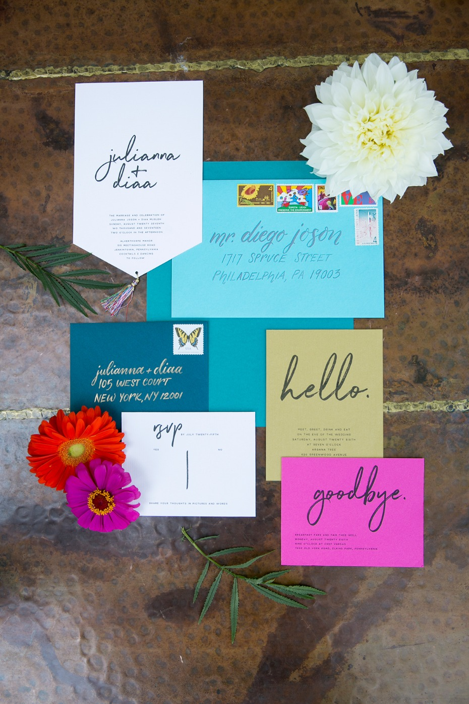 whimsically colored wedding stationery