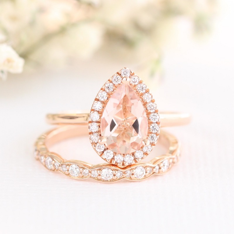 Shop more Pear Shaped Bridal Sets, like this morganite beauty with scalloped diamond wedding band, by La More Design here ~