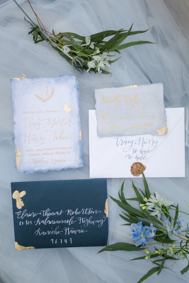 Gorgeous blue and gold invitation suite inspiration!