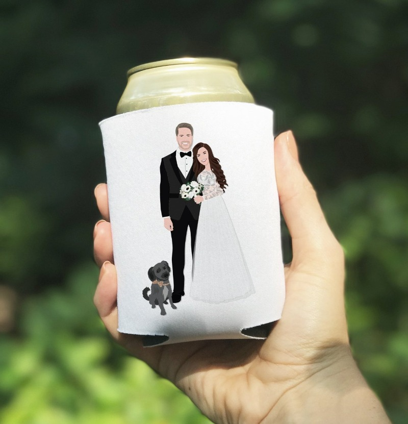 Let's talk about wedding favors, y'all! Miss Design Berry can create custom coozies with YOUR portraits on them! Add your pet to include