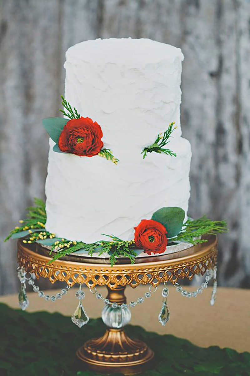 Rustic Glam Wedding Cake by Delightful Bites Cakery on an Opulent Treasures antique gold chandelier cake stand with faux crystal ball