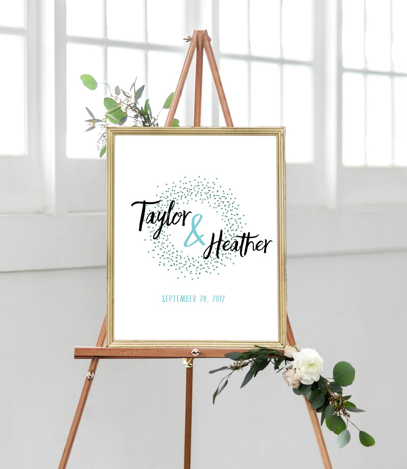 Custom wedding sign - choose your own colors to match your decor.