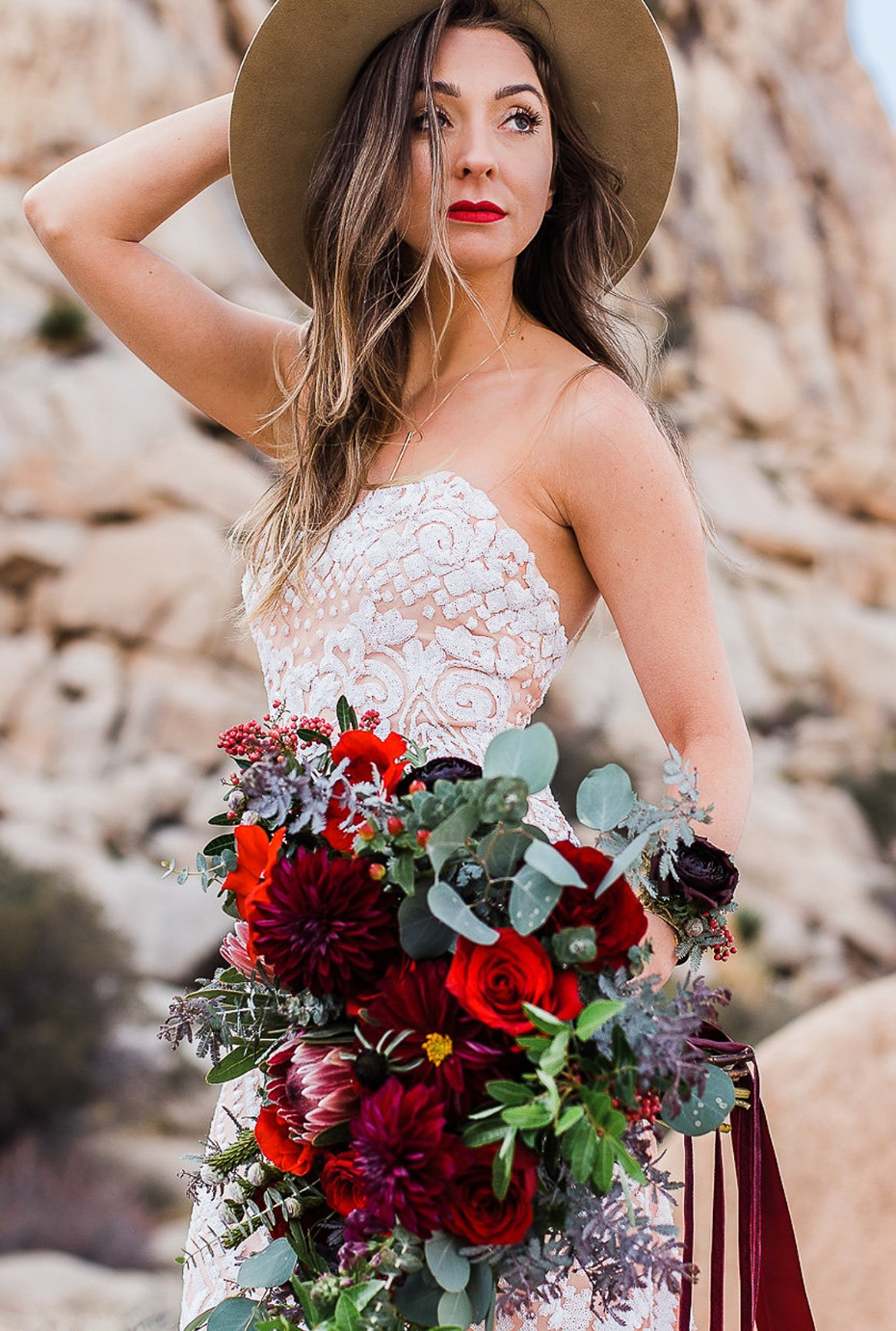 boho bride in the desert of Joshua Tree